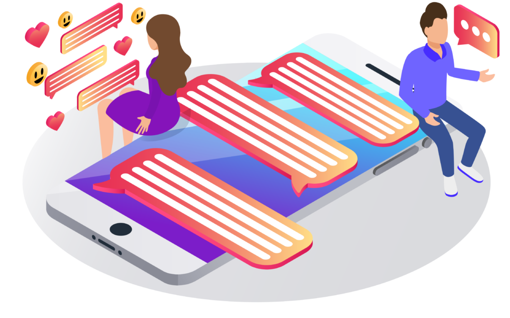 A isometric illustration depicting two people communicating/messaging from a cell phone.