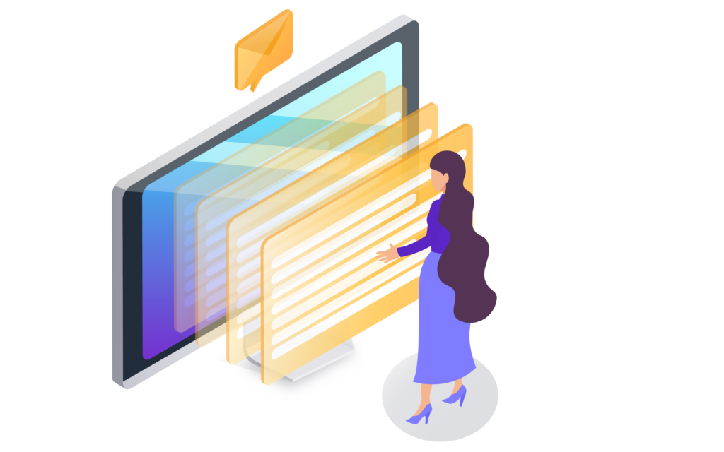 isometric illustration of a female sending messages via a computer screen.