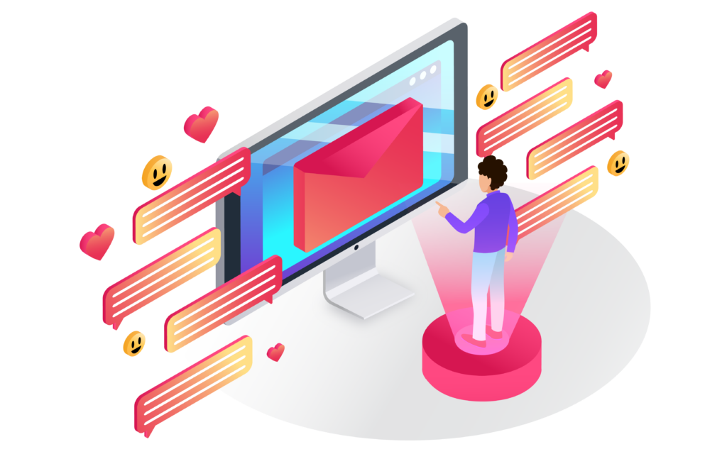 An isometric illustration of a guy receiving and sending messages/emails via a computer.