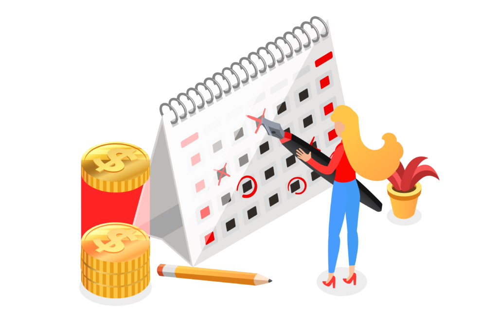 Free illustration that depicts accounting actions. Girl holding a pen and checking off dates with money around her.