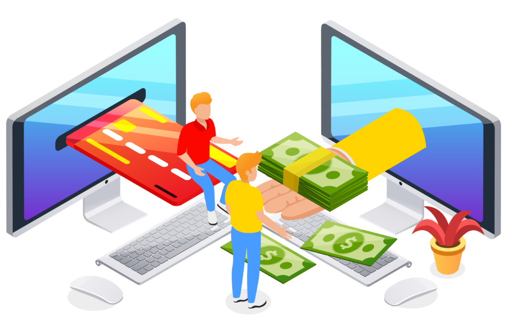 cash and debit/credit card coming through computer screens. Hand holding the money and two people sitting/standing around.