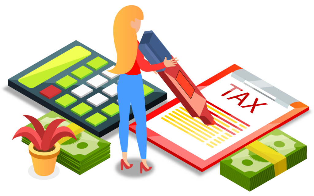 Girl calculating taxes, highlighting important parts