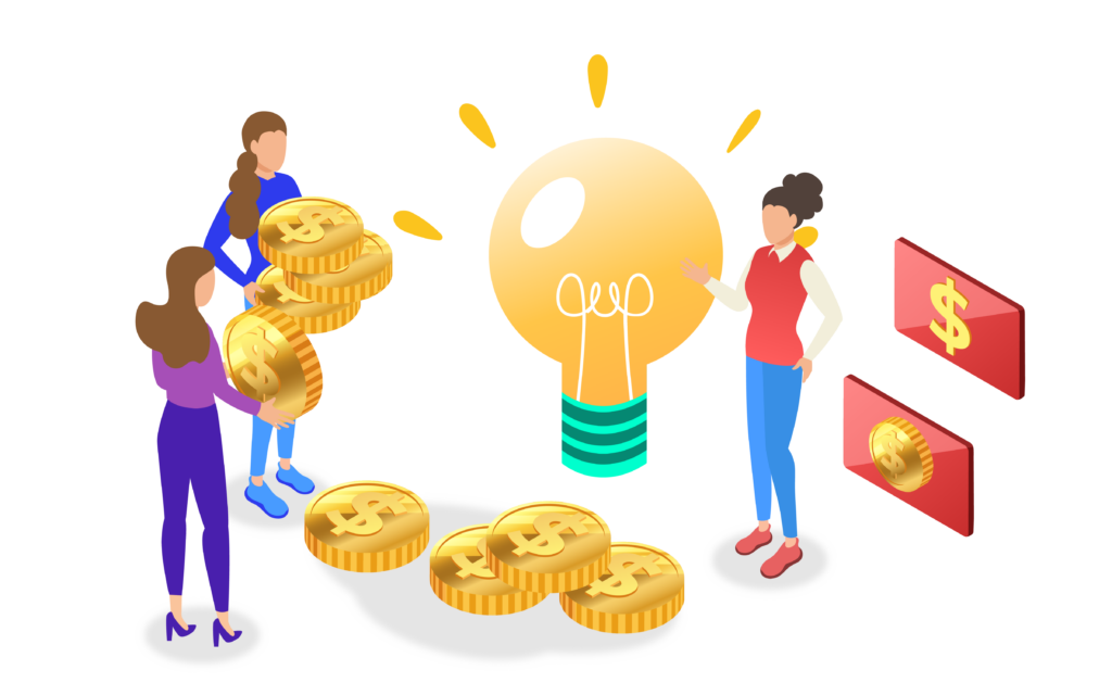People holding and giving coins for crowdfunding