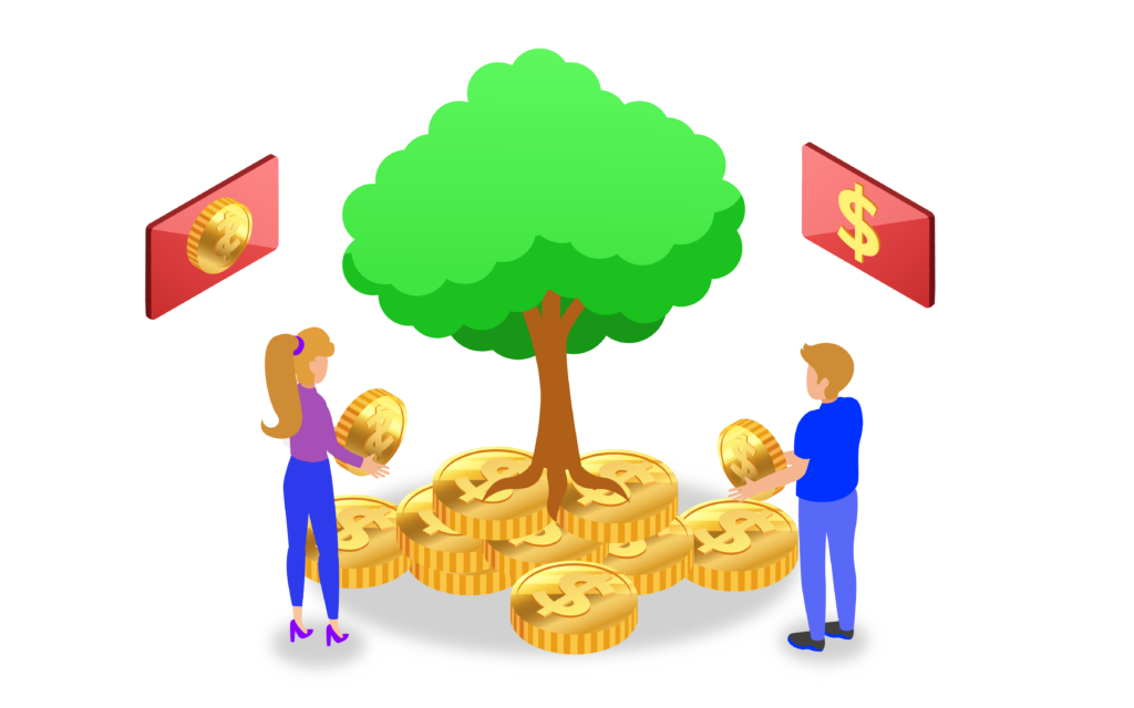 two people placing money under a tree for crowdfunding