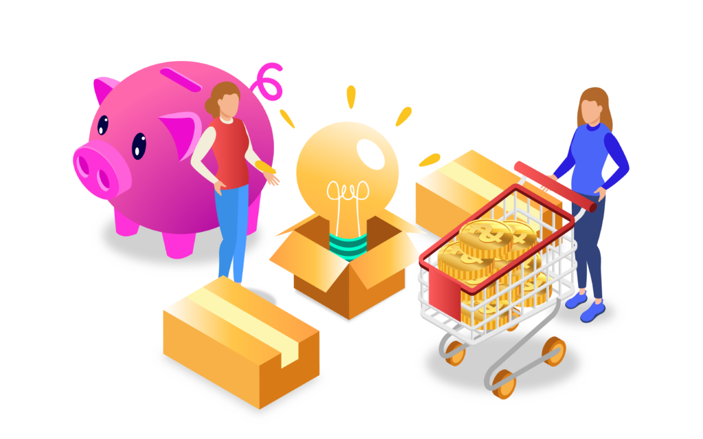 Piggy bank and shopping cart with money