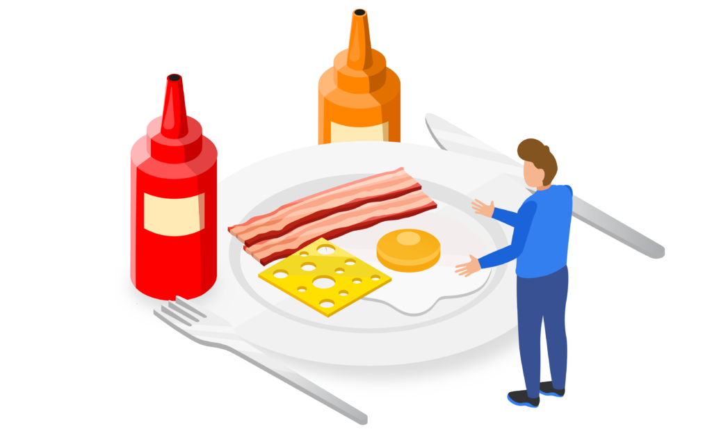 Breakfast food, bacon and eggs on plate