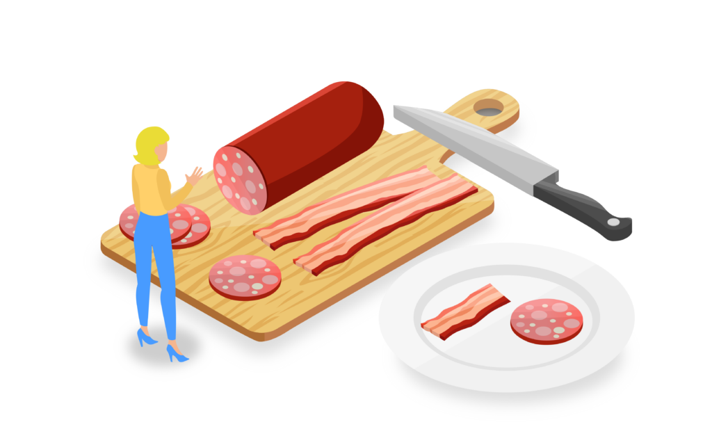 Food and a cutting board