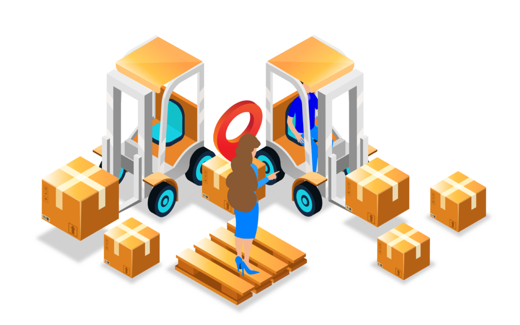 Forklift moving and shipping packages