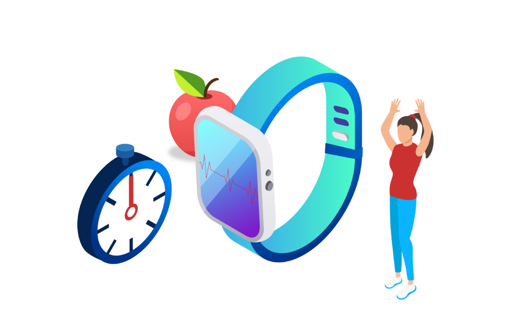 smart watch showing heart rate and a person exercising